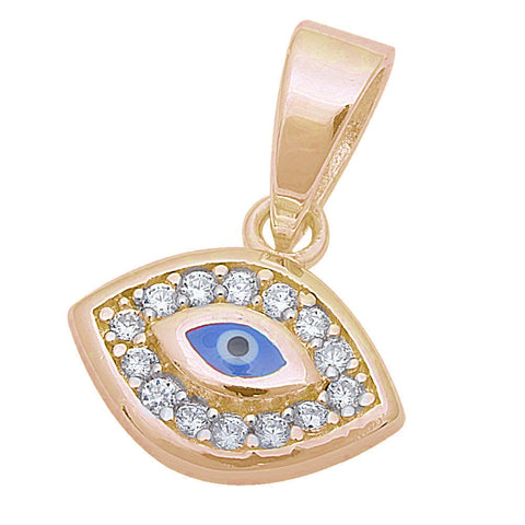 "Yellow Gold Plated Cz Blue Evil Eye .925 Sterling Silver Pendant .5"" long"