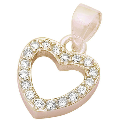 Round Yellow Gold Plated Cz Heart Charm .925 Sterling Silver Pendant 17x11mm