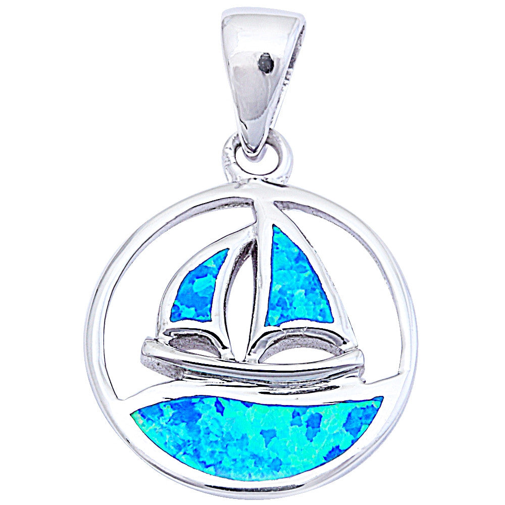 "Blue Opal Sailing boat .925 Sterling Silver Pendant 1"" long"