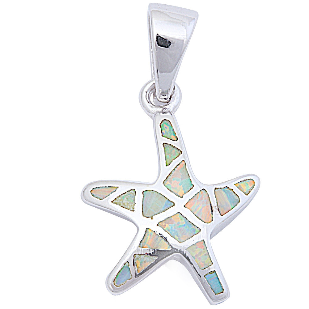 "White Opal Starfish .925 Sterling Silver Pendant 1"" long"