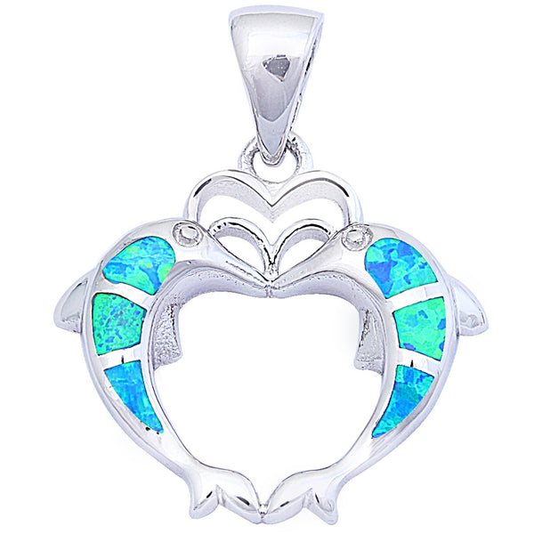 "Blue Opal Dolphins .925 Sterling Silver Pendant 1"" long"