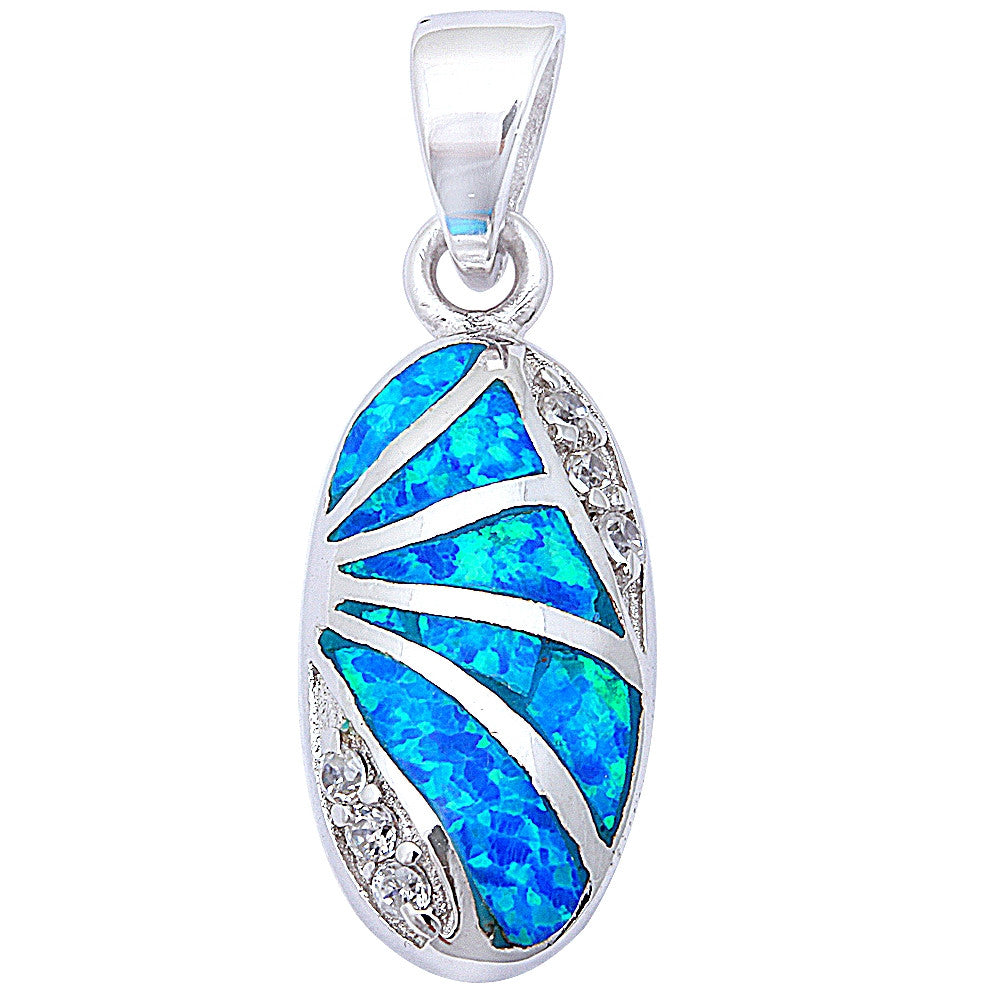 "Blue Fire Opal & Cz .925 Sterling Silver Pendant 1"" long"