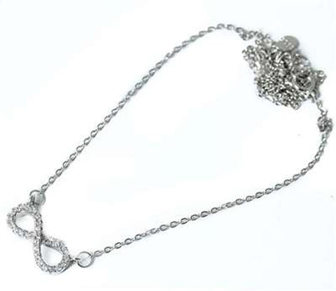 "Cz Infinity .925 Sterling Silver Pendant Necklace w/ 16""+1.5""(ext) Chain"