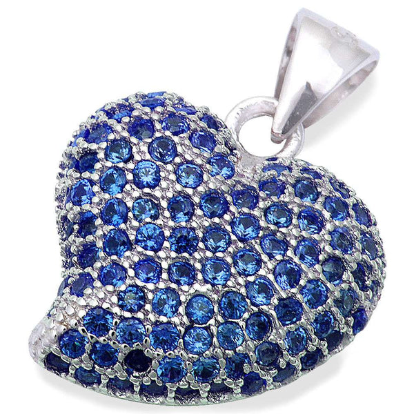 Pave Style Blue Sapphire Heart .925 Sterling Silver Pendant .75""