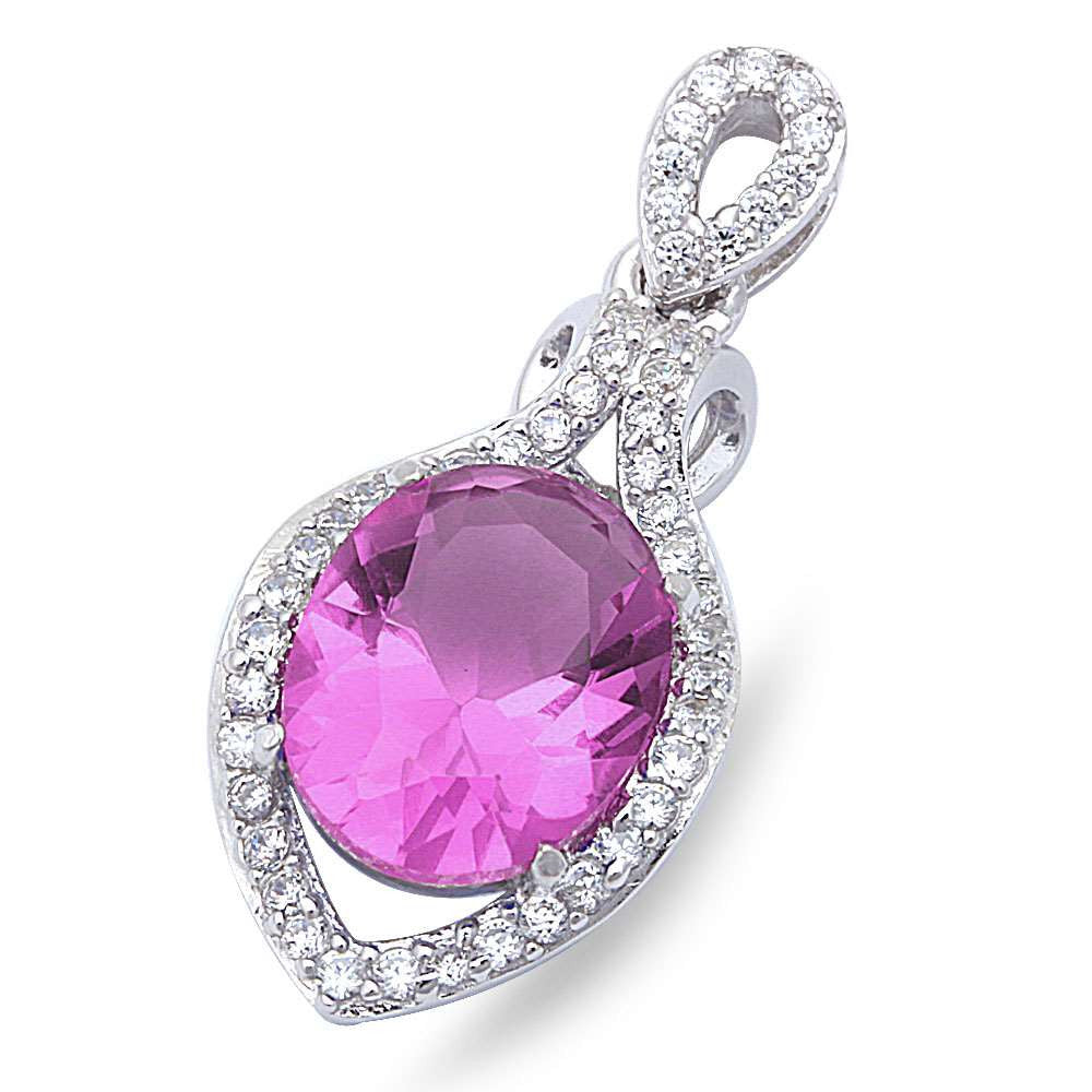 "Faceted Amethyst & Cubic Zirconia .925 Sterling Silver Pendant 1"" long"