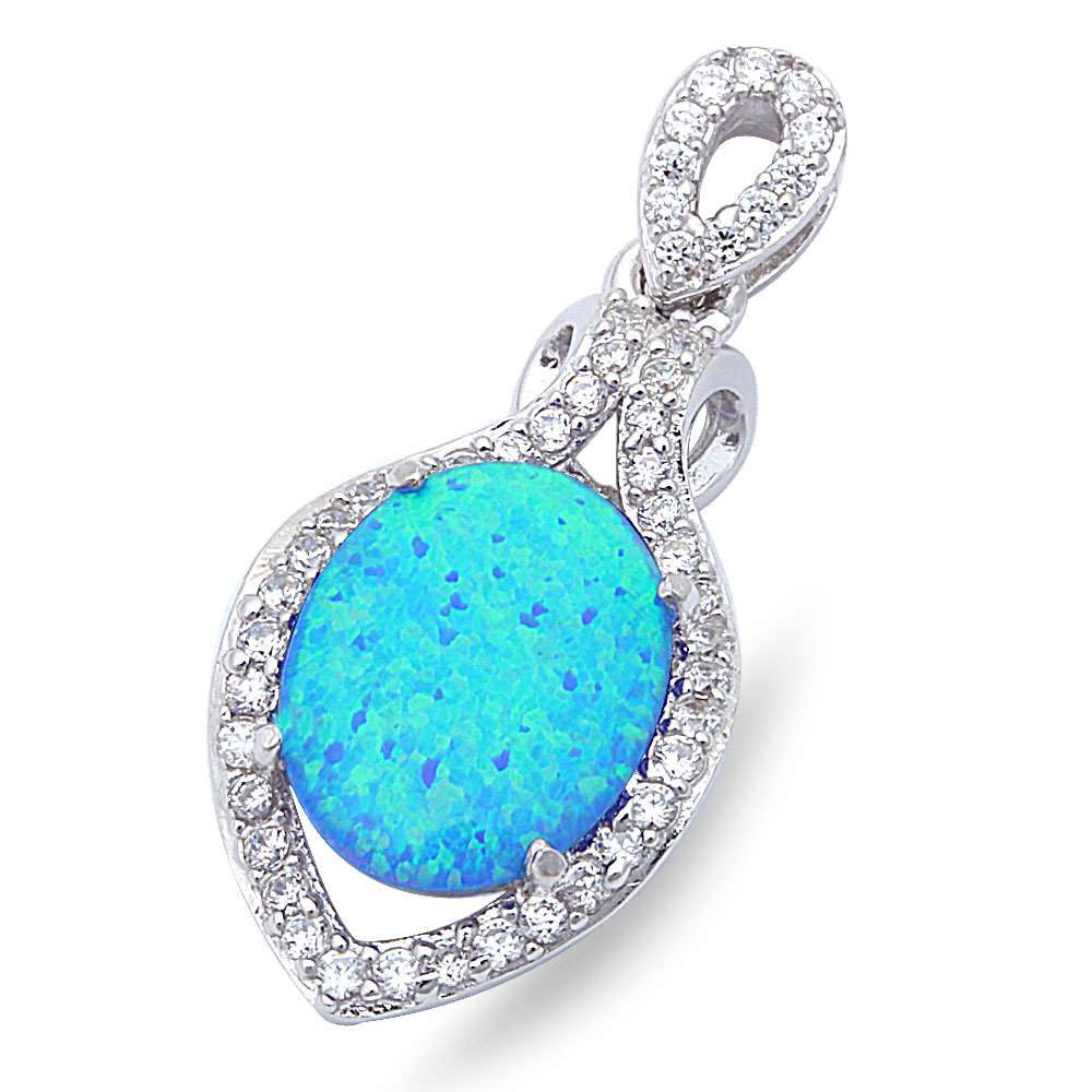 "Lab Created Blue Opal & Cubic Zirconia .925 Sterling Silver Pendant 1"" long"