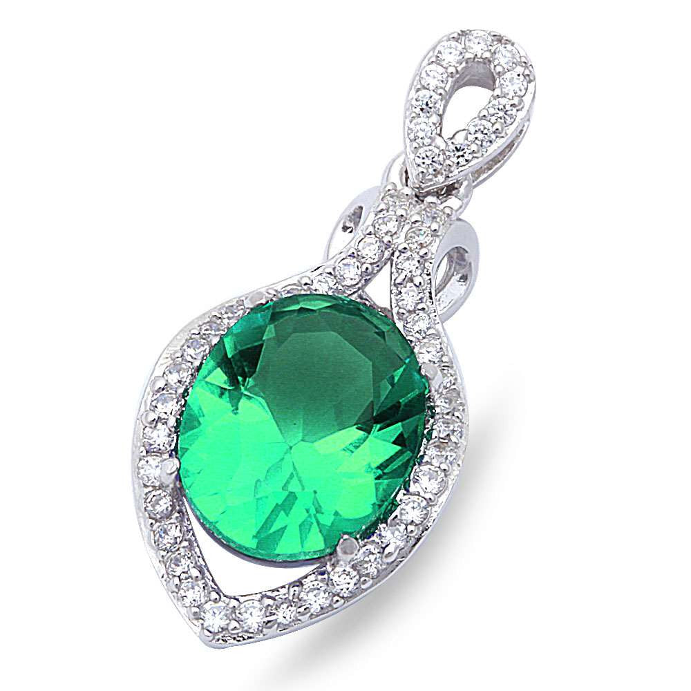 "Elegant Green Emerald & Cubic Zirconia .925 Sterling Silver Pendant 1"" long"