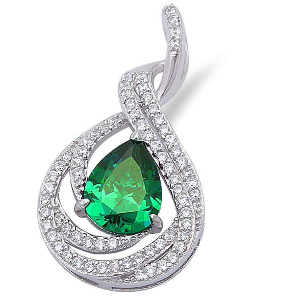 "Pear Shape Green Emerald & Cubic Zirconia .925 Sterling Silver Pendant 1"" long"