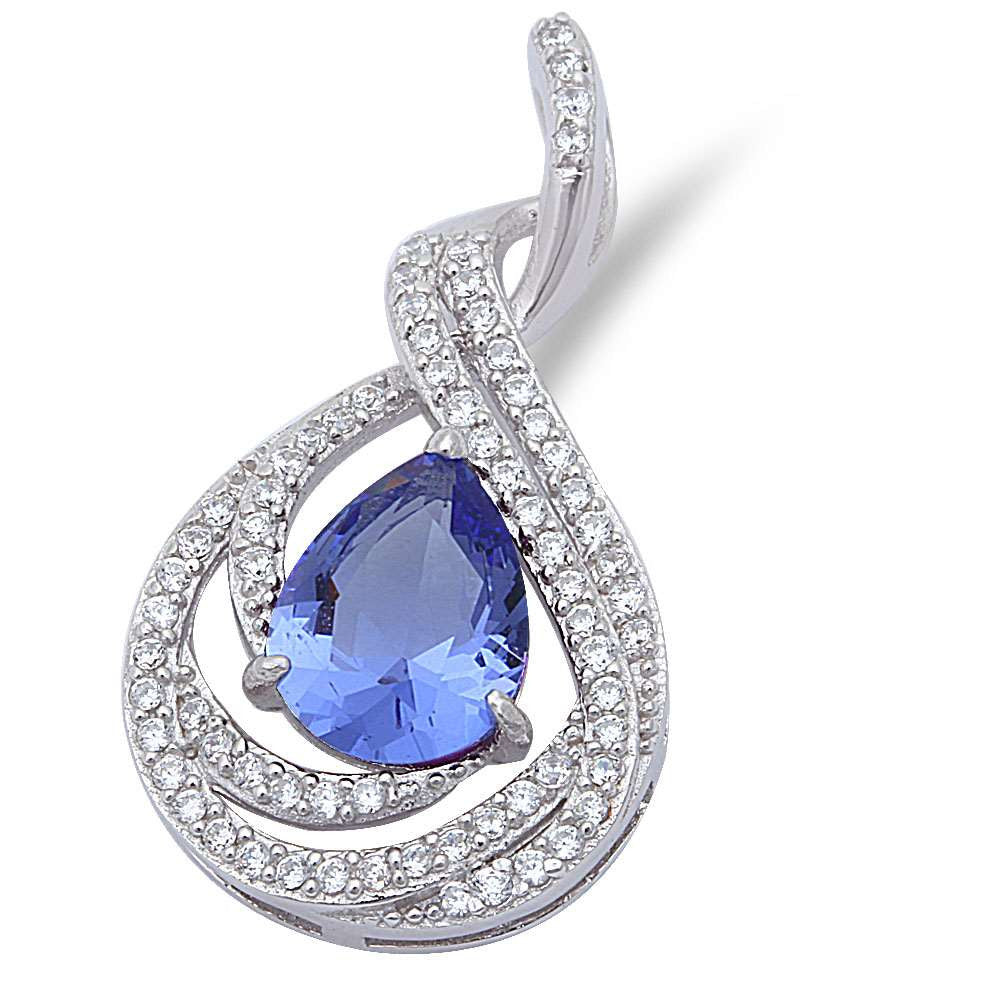 "Pear Shape Tanzanite & Cubic Zirconia .925 Sterling Silver Pendant 1"" long"