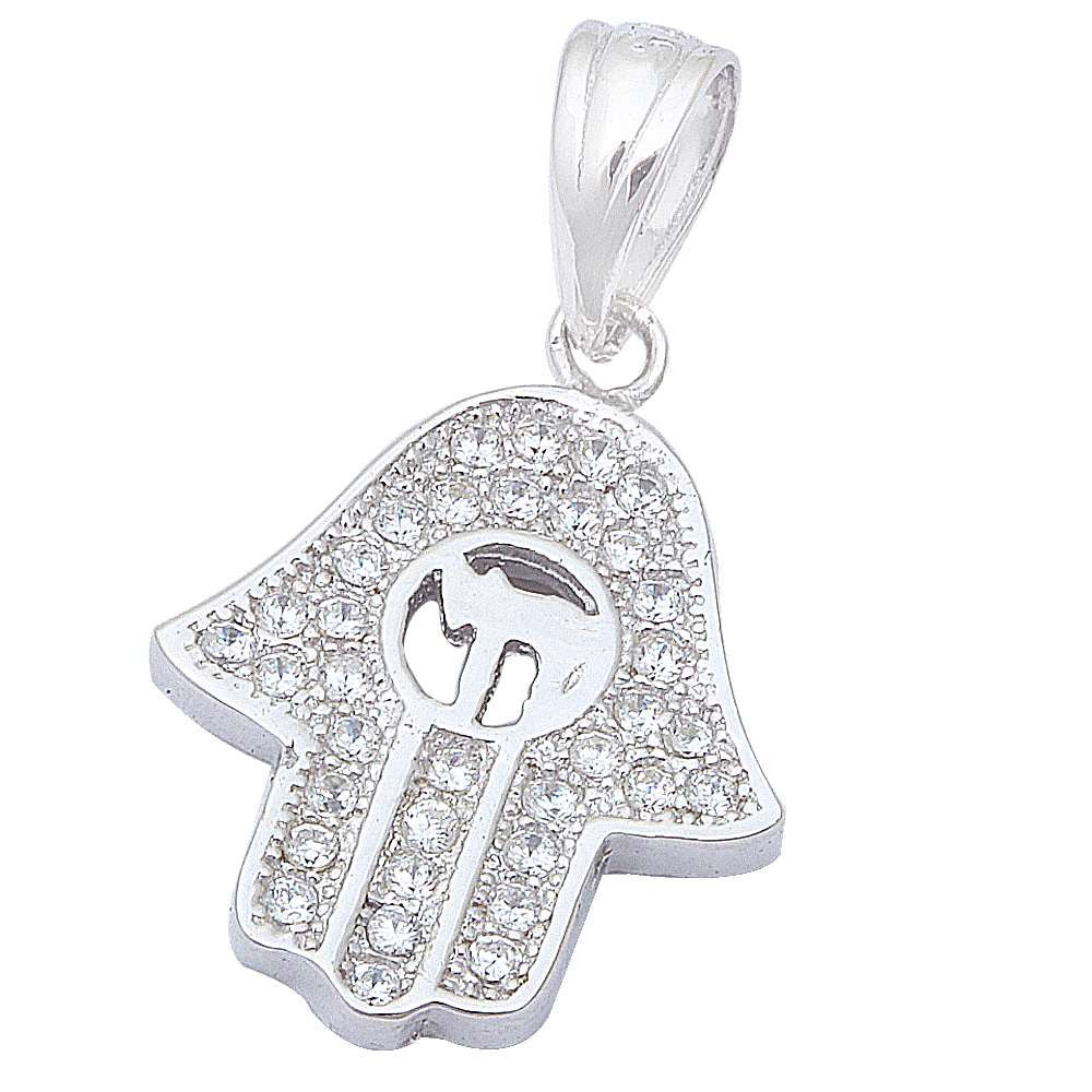 "Micro Pave Cz Hand Of God .925 Sterling Silver Pendant .75"" long"