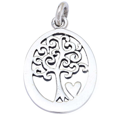 "Solid Tree of Life .925 Sterling Silver Pendant 1"" long"