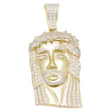Yellow Gold Plated Hiphop Style Heavy 4CT  Micro Pave Cubic zirconia Jesus Piece .925 Sterling Silver Pendant