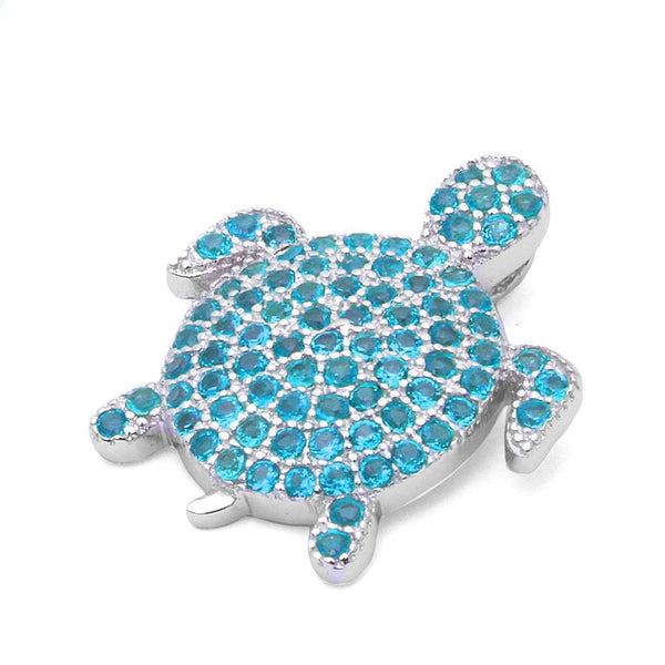 Pave Blue Topaz Turtle .925 Sterling Silver Pendant