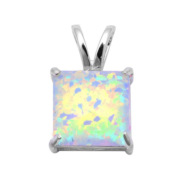 White Fire Opal .925 Sterling Silver Pendant