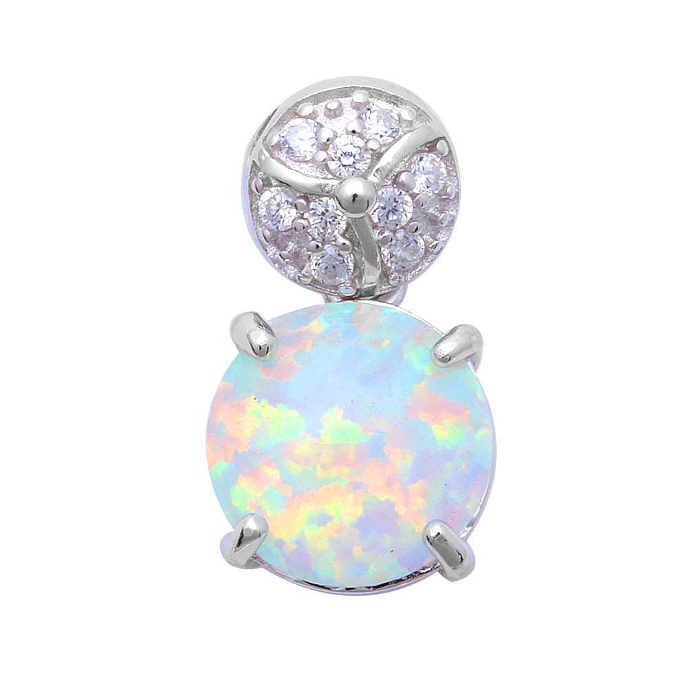 For Her! White Fire Opal & Pave Cubic Zirconia .925 Sterling Silver Pendant