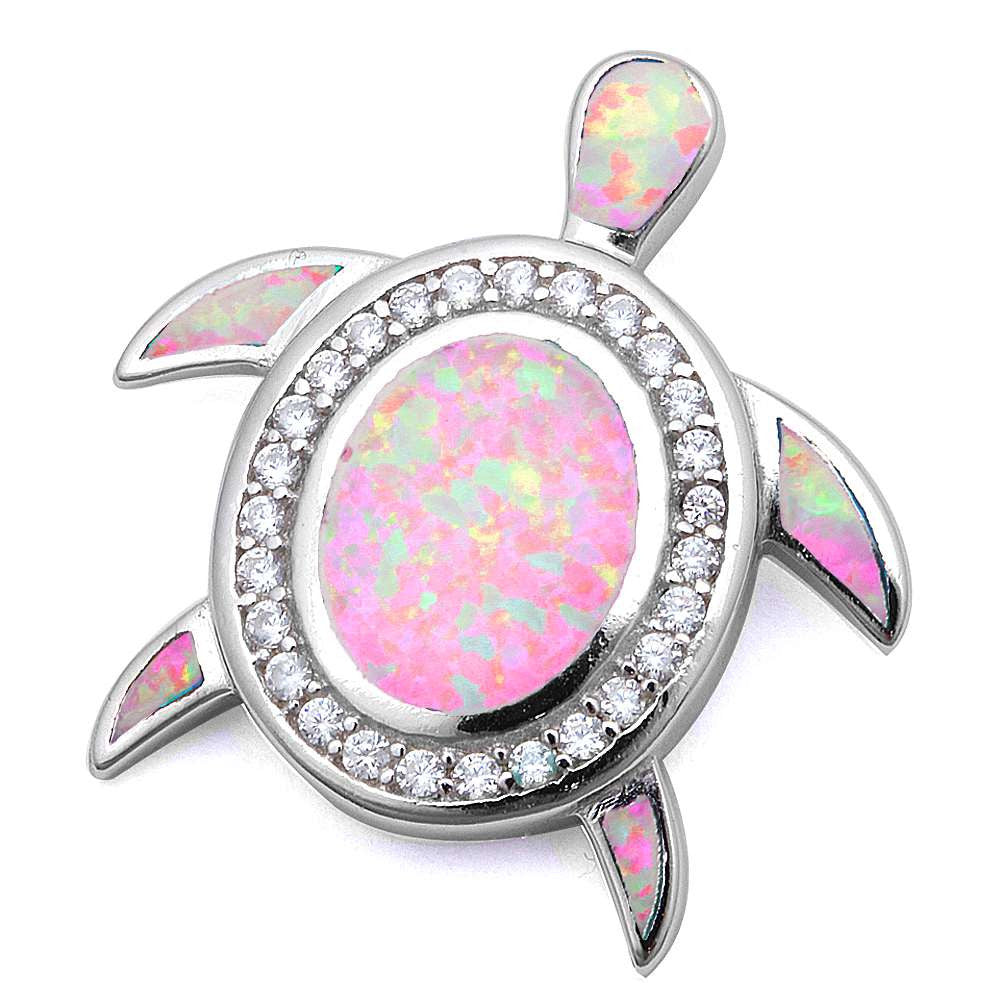 Pink Fire Opal & Cubic Zirconia Turtle .925 Sterling Silver Pendant