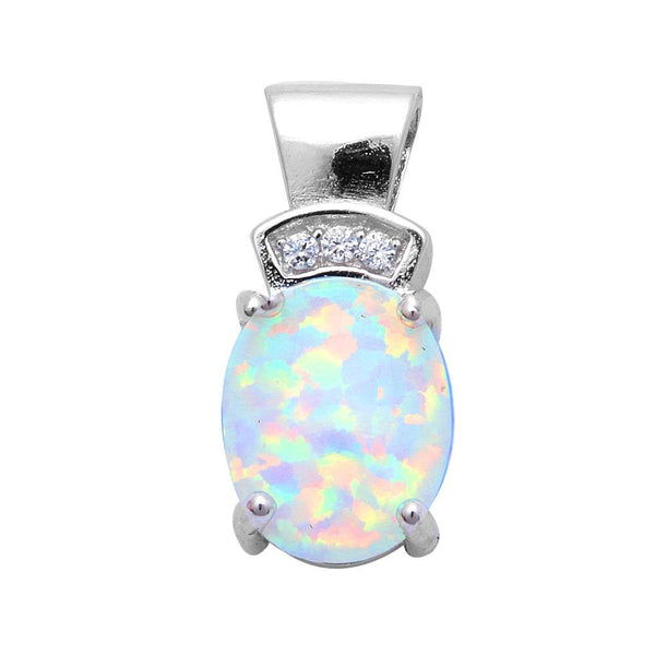 White Fire Opal & Cubic Zirconia .925 Sterling Silver Pendant