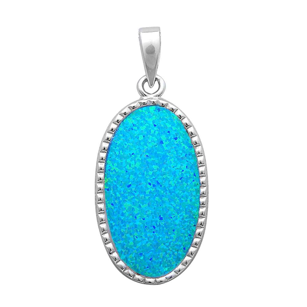 Solid Oval Blue Fire Opal .925 Sterling Silver Pendant