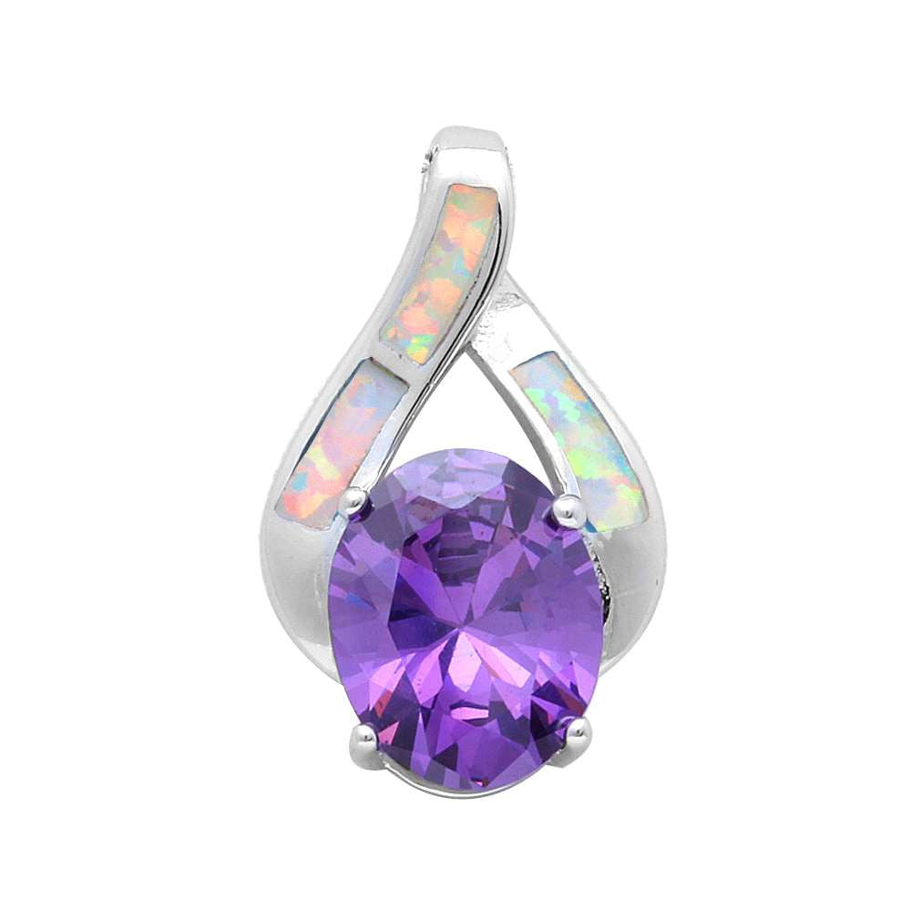 White Opal & Amethyst Fashion .925 Sterling Silver Pendant