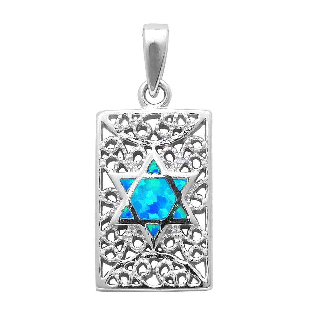 White Opal Star of David Design .925 Sterling Silver Pendant