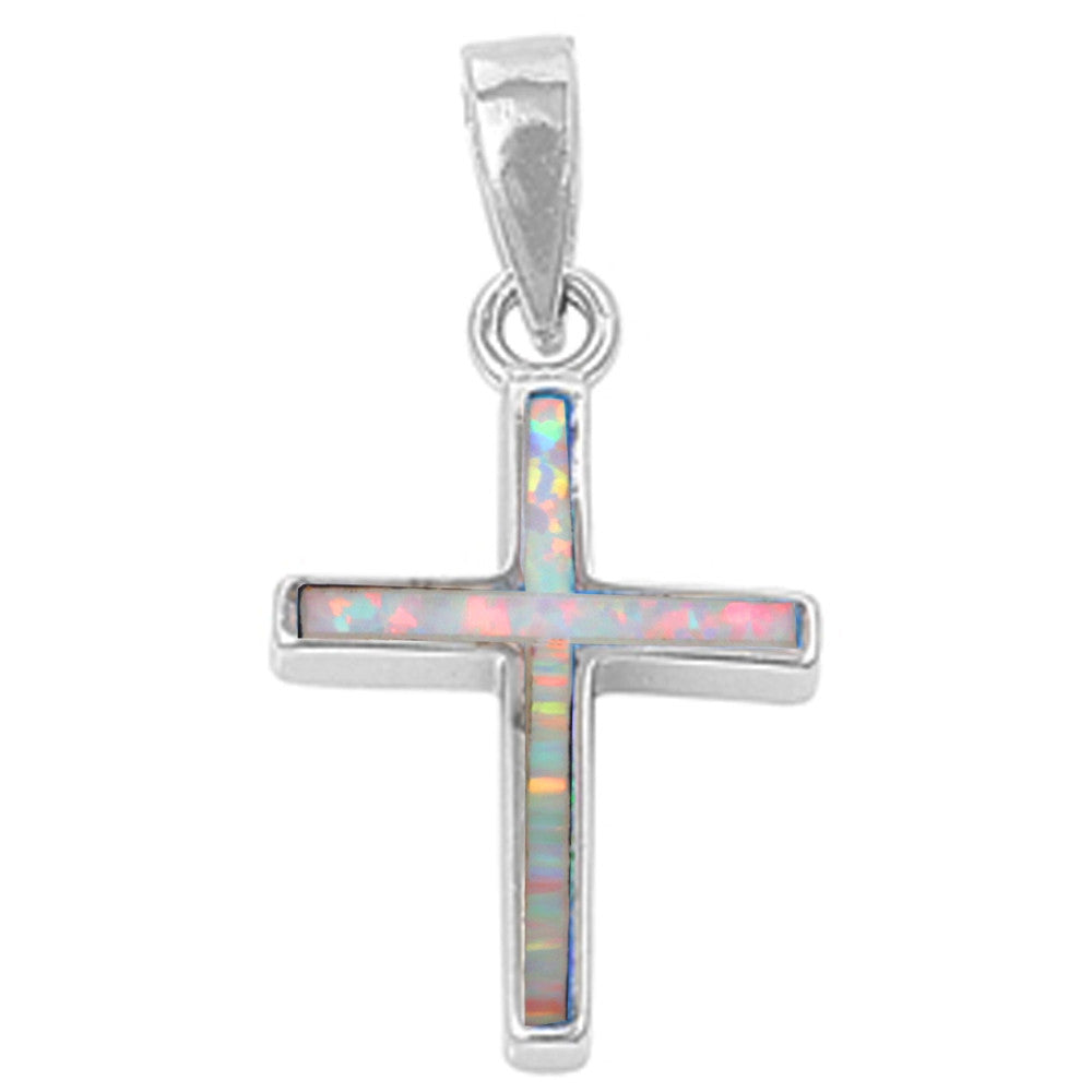 White Opal Simple Cross .925 Sterling Silver Pendant