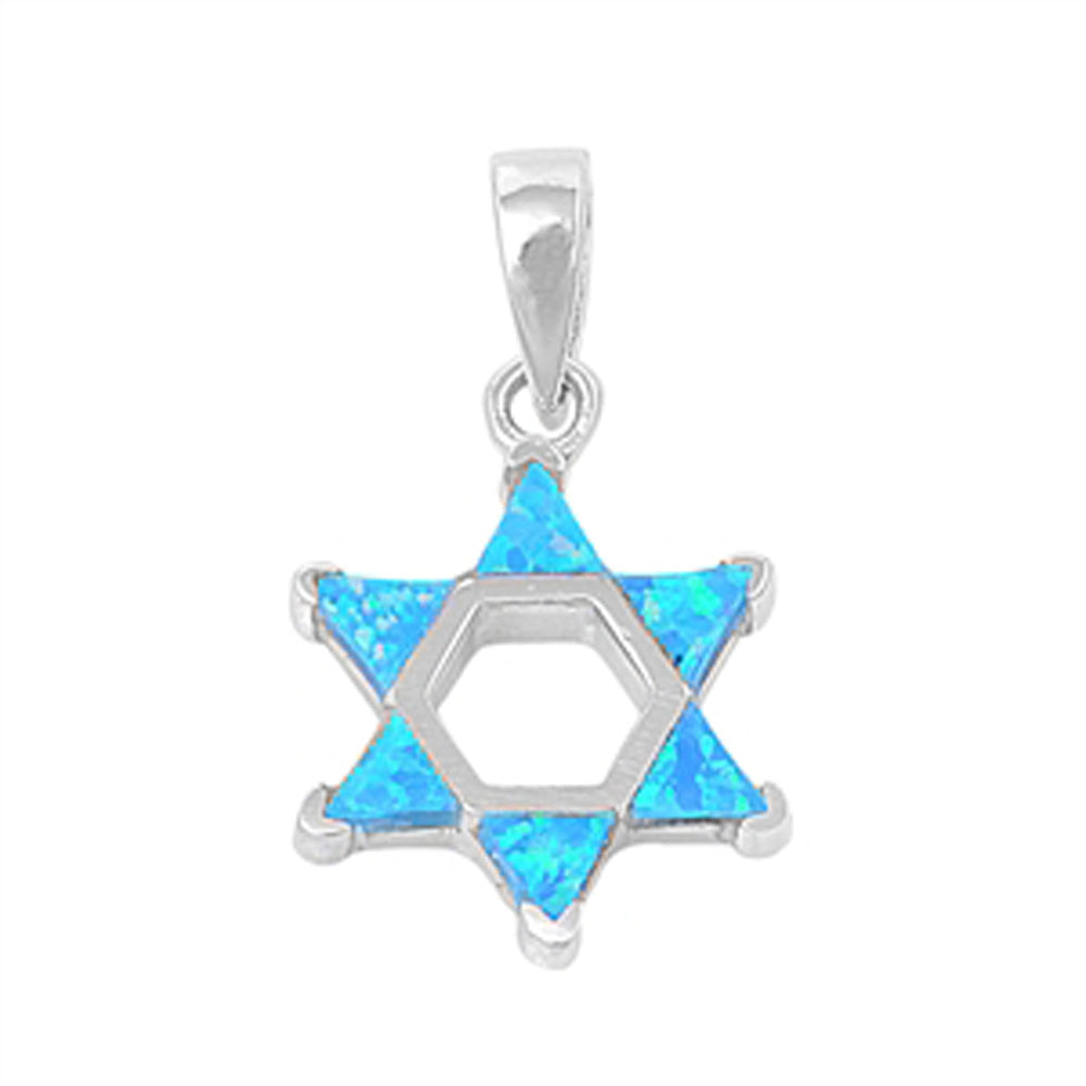 <span>CLOSEOUT!</span>Blue Opal Star of David .925 Sterling Silver Pendant