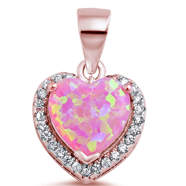 Rose Gold Plated Pink Fire Opal Heart with CZ .925 Sterling Silver Pendant