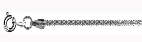 2.5MM Rhodium Plated Popcorn Chain Made in Italy .925 Sterling Silver Sizes 16-20""
