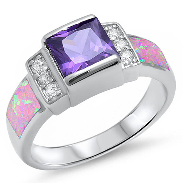 <span>CLOSEOUT!</span> Amethyst, Pink Opal, & Cz .925 Sterling Silver Ring Sizes 5-10