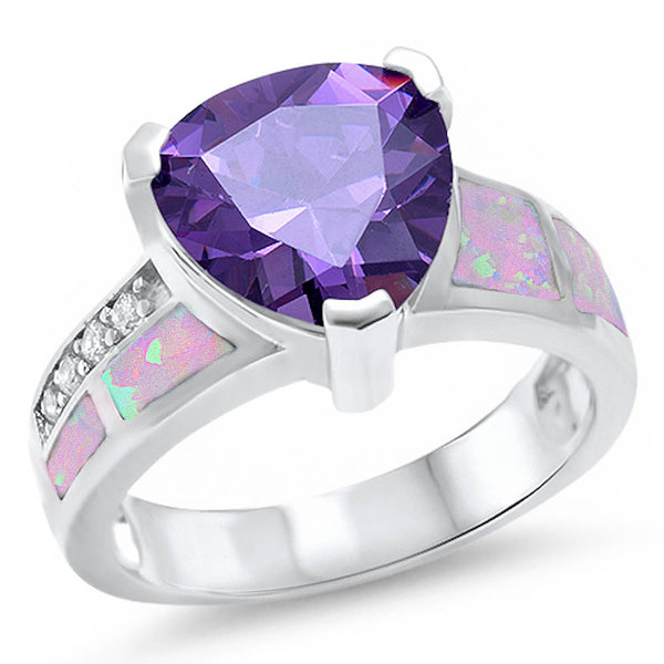 <span>CLOSEOUT!</span> Trillion Shape Amethyst, Pink Opal, & Cz .925 Sterling Silver Ring Sizes 5-10