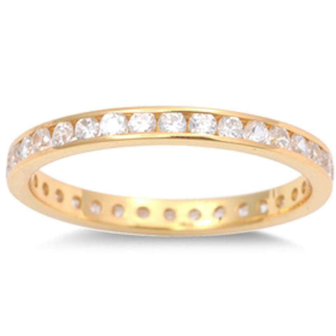 Yellow Gold Plated Cz Eternity Band .925 Sterling Silver Ring Sizes 1-10