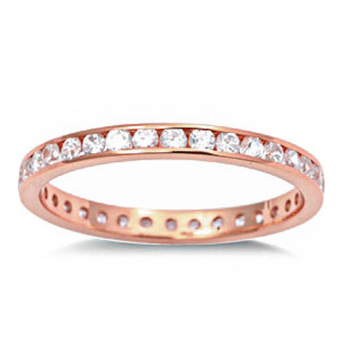 <span>CLOSEOUT!</span> Rose Gold Plated Cz Eternity Band .925 Sterling Silver Ring Sizes 2-12