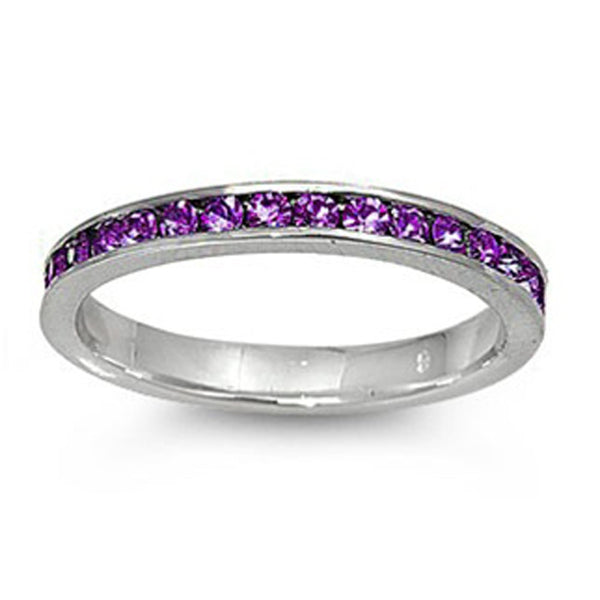 Amethyst Stackable Eternity Wedding Anniversary Band .925 Sterling Silver