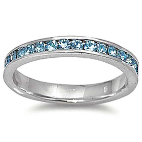 Aquamarine Eternity Band Ring .925 Sterling Silver Sizes 4-12