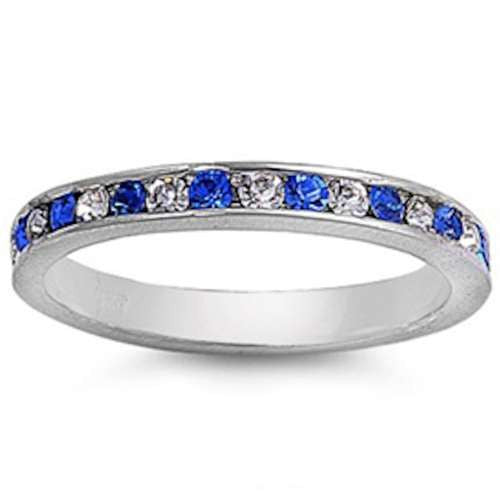 GORGEOUS BLUE & CLEAR Cubic Zirconia ETERNITY .925 Sterling Silver Ring Sizes