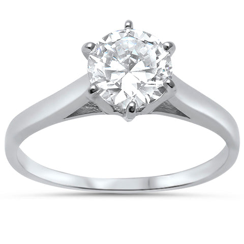 7MM Round Solitaire Cubic Zirconia .925 Sterling Silver  Ring Sizes 5-10