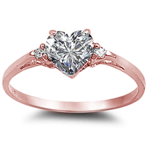 Rose Gold Plated Cubic Zirconia Heart .925 Sterling Silver Ring Sizes 4-12
