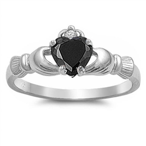 Black Cz Heart Claddagh Ring .925 Sterling Silver Sizes 3-12