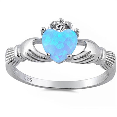 Light Blue Opal Claddagh & Cubic Zirconia .925 Sterling Silver Ring Sizes 5-10