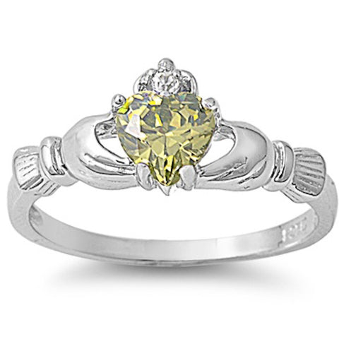 Peridot and Cubic Zirconia Claddagh .925 Sterling Silver Ring Sizes 4-10