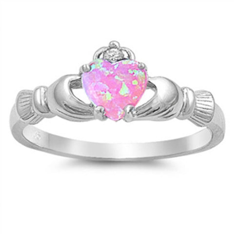 Pink Opal Claddagh & Cubic Zirconia .925 Sterling Silver Ring Sizes 4-12