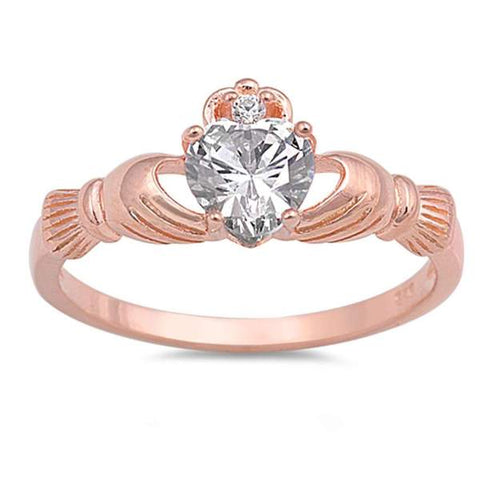 Rose Gold Plated and CZ Claddagh .925 Sterling Silver Ring Sizes 5-12