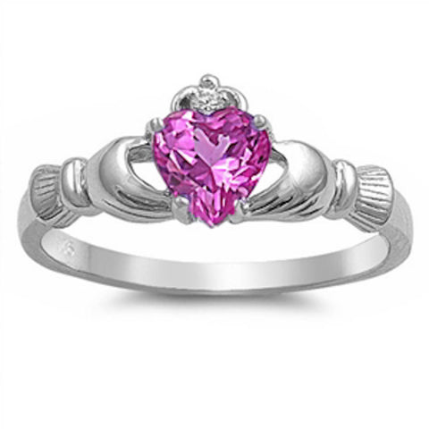 Rose Pink Cz & Cubic Zirconia Claddagh .925 Sterling Silver Ring Sizes 3-12
