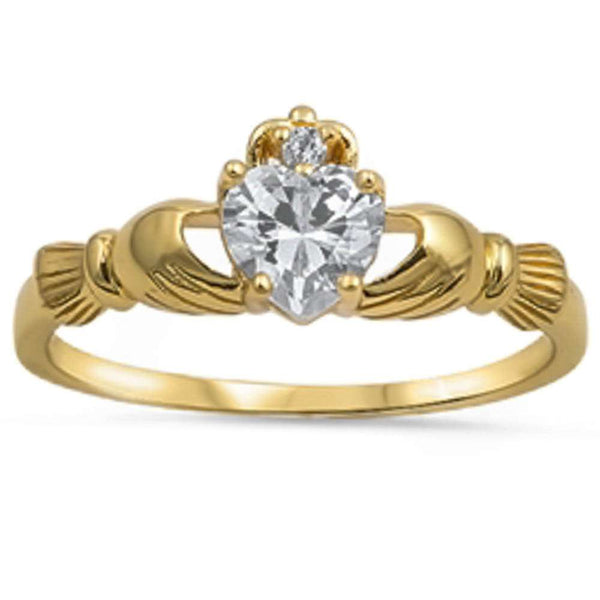 Yellow Gold Plated Irish Claddagh Cz Heart .925 Sterling Silver Ring Sizes 3-12
