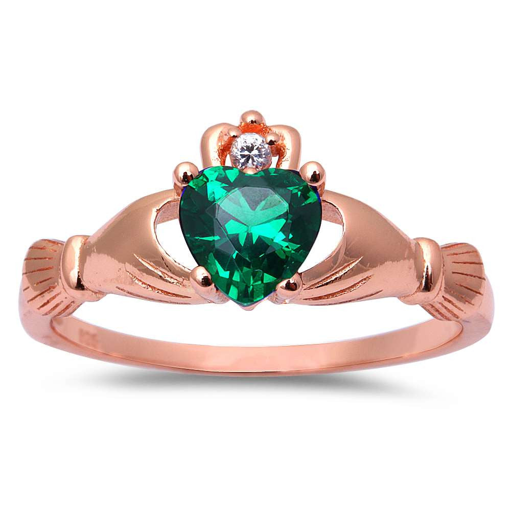 Rose Gold Plated Green Emerald Cubic Zirconia Calddagh .925 Sterling Silver Ring Sizes 4-11