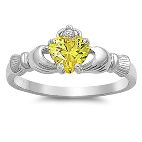 Yellow Topaz & Russian Cz Claddagh .925 Sterling Silver Ring Sizes 4-10
