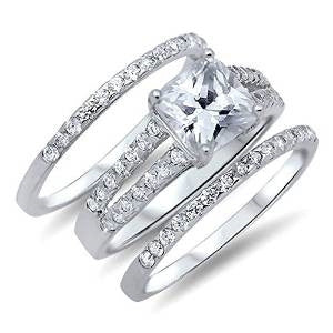 3 Piece Solid Sterling Sterling silver Engagement ring set