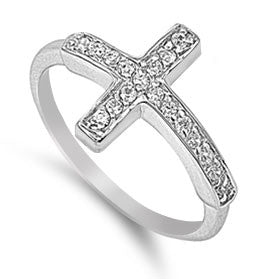 Beautiful! .50ct Cubic Zirconia Sideways Cross .925 Sterling Silver Ring (10)