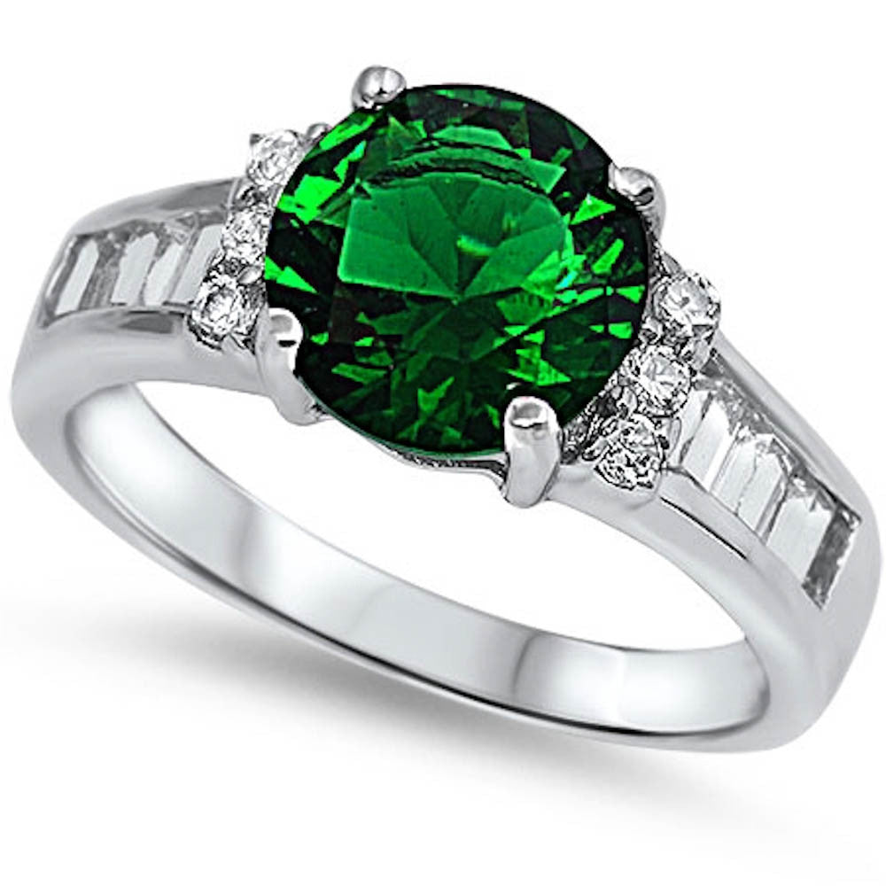 BEAUTIFUL GREEN EMERALD & CZ ENGAGEMENTFASHION .925 Sterling Silver Ring Size 11