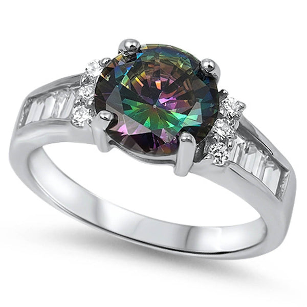 Rainbow Topaz & Cz Engagement Ring .925 Sterling Silver Sizes 5-10